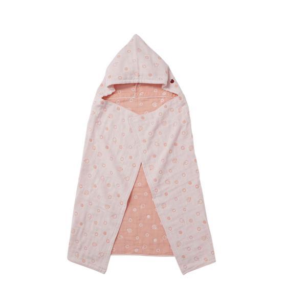 KEYUCA(ケユカ) テントウ虫 6重ガーゼ フード付きバスタオル ピンク