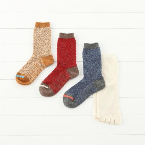 KEYUCA(ケユカ) N 絹とラムウールの2足セット 靴下 ネイビーブルー