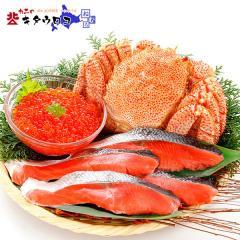 【LOHACO限定】【父の日ギフト】北海道豪華グルメAセット「特大毛がに、いくら、紅鮭」