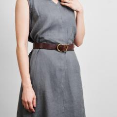 「あな」がないベルト ダークブラウン | 二宮五郎商店  日本製  本革 メンズ レディース バックル