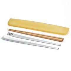 tak SLIM CUTLERY SET イエロー   スリムカトラリーセット 箸 フォーク スプーン お弁当 ランチボックス