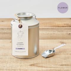 とみおかクリーニング 洗濯粉洗剤 フラワー    ミルク缶入り(計量スプーン付き)