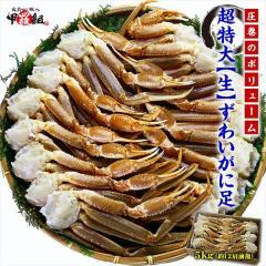ズワイガニ カニ かに 蟹 超特大 生ずわいがに 足 5kg  5Lサイズ 約12肩入 ロシア 業務用 産地箱 送料無料
