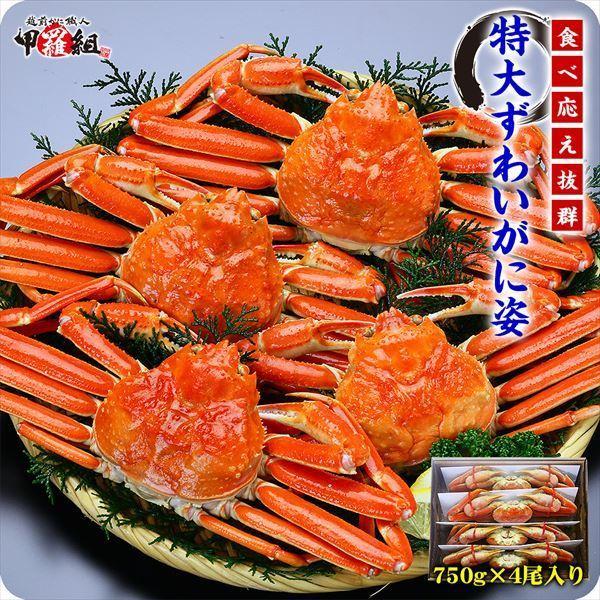 ズワイガニ カニ かに 蟹 ボイルずわい蟹 姿 750g前後×4尾入 特大サイズ