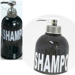 5%OFFクーポン対象商品 モビリア 浴室用 詰め替えボトル ディスペンサー シャンプー用 ダークグレー おしゃれ アルファベット シンプル クーポンコード:V6DZHN5