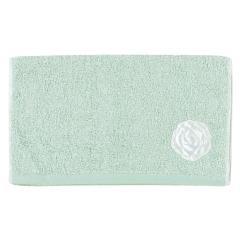 5%OFFクーポン対象商品 SDS サロンドソワレ ドゥースメランジェ フェイスタオル 約34×80cm ブルー 洗える ローズ サテン アップリケ 刺繍 かわいい おしゃれ クーポンコード:V6DZHN5