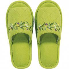 5%OFFクーポン対象商品 オリーブ スリッパ グリーン 洗える リーフ 鮮やか クーポンコード:V6DZHN5
