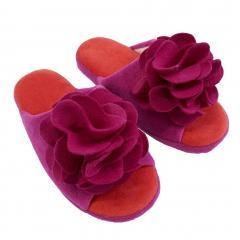 SDS ローズ 前あきスリッパ 内寸約23.5cm パープル 洗える 花 モチーフ 低反発 ウレタン ふんわり かわいい おしゃれ プレゼント