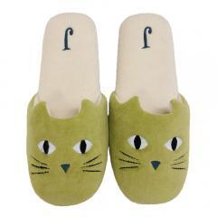 5%OFFクーポン対象商品 【ホコモモラ】 ガト スリッパ 約24.0cm グリーン 洗える 猫 ネコ かわいい おしゃれ ソフト 軽い ブランド クーポンコード:V6DZHN5