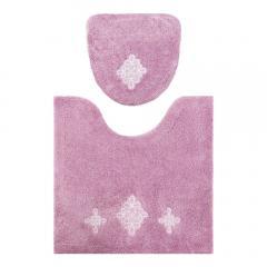リアン 洗浄トイレ2点セット ピンク(トイレマット・洗浄便座用フタカバー)