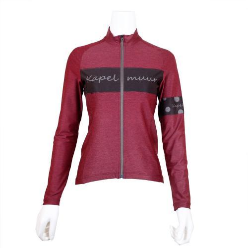 カペルミュール(KAPELMUUR) 長袖ジャージ 杢グレーローズプリント 自転車ウェア kpls020(Lady's)