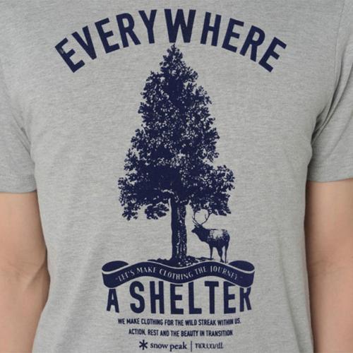スノーピーク(snow peak) シェルタープリントTシャツ グレー Shelter Printed T-shirt TS-15AU402-GY ユニセックス 半袖Tシャツ(Men's、Lady's)