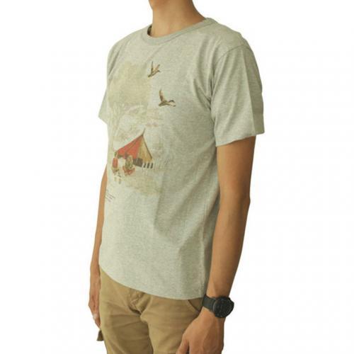 スノーピーク(snow peak) キャンプフィールドプリントTシャツ グレー Camp Field Printed T-shirt TS-15AU403-GY ユニセックス 半袖Tシャツ(Men's、Lady's)
