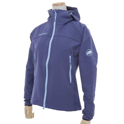 マムート(MAMMUT) SOFTECH CLIMB LIGHT HOODED JACKET WOMEN ソフトシェルジャケット 1010-23010-5118 marine(Lady's)