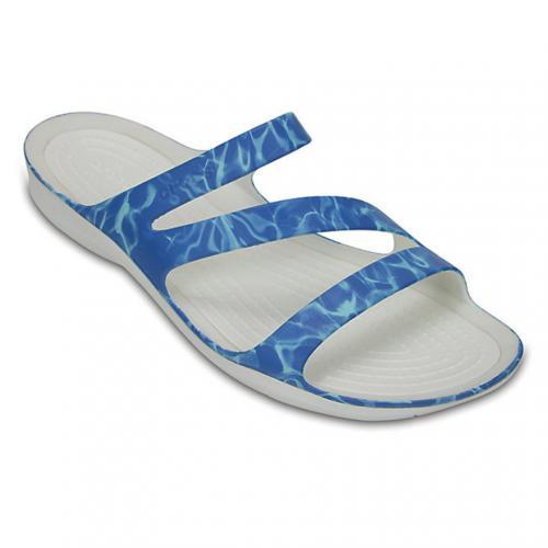 クロックス(crocs) スウィフトウォーター グラフィック サンダル ウィメン Women's Swiftwater Graphic Sandal サンダル 204461 43E Water/White(Lady's)