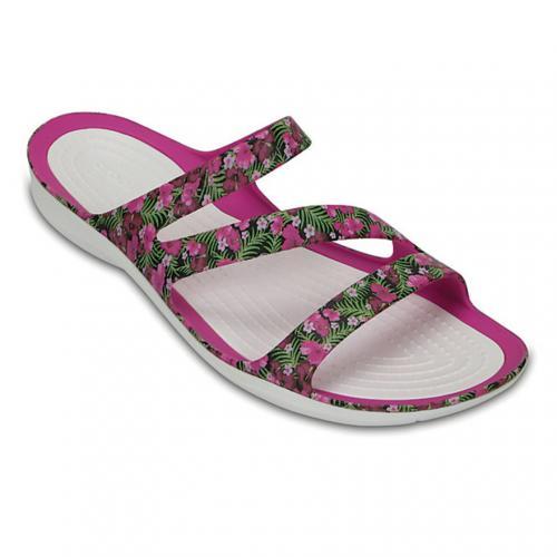 クロックス(crocs) スウィフトウォーター グラフィック サンダル ウィメン Women's Swiftwater Graphic Sandal サンダル 204461 6JL Pink/Floral(Lady's)