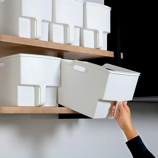 キッチン収納ケース 吊り戸棚ボックスワイド 幅24cm  ホワイト( 収納ボックス 整理ケース 取っ手付き 戸棚収納 収納BOX 収納ストッカー キッチンストッカー 吊戸棚用 収納 収納カゴ キッチン収納 プラスチック 収納用品 マルチ収納 )