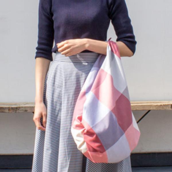 風呂敷 三巾 MUSUBI+100チェック 98cm 大判 レッドミックス
