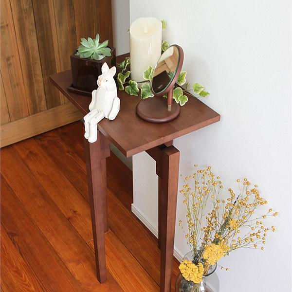コンソールテーブル 高さ75cm テーブル 天然木 ブラウン(  サイドテーブル コンソールデスク スリム 玄関 花台 エントランス 飾り 棚 台 机 木製 幅 45 奥行 30 高さ 75 )