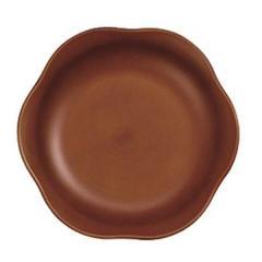花プレート S 15cm お皿 SEE 樹脂製 木製風 軽い 割れにくい 食器 日本製 ライトブラウン ( 電子レンジ対応 食洗機対応 山中塗 輪花皿 木目調 小皿 木製風 割れにくい 取り皿 デザート皿 花 )の画像