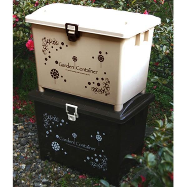 ガーデンコンテナ 収納ボックス 70L ガーデン用品 大容量 ロック機能付き 組み立て ベージュ( ベランダ収納 コンテボックス 収納ケース 収納庫 ベランダ収納ボックス ガーデンボックス ガーデニング用品 ストッカー 物置 おもちゃ箱 )