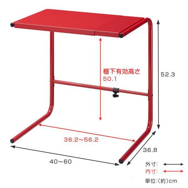 電子レンジ 幅40~60cm 伸縮式 高さ52cm ハイタイプ スチール製 ブラック