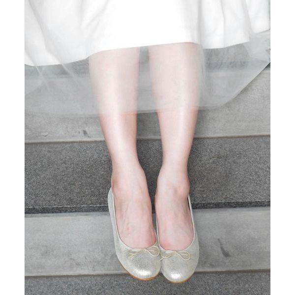 ★【低反発スポンジ入り】ラウンドレザーバレエシューズ