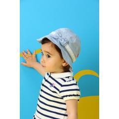 ★UVカット対応★レースリボン付きダンガリーハット(帽子)