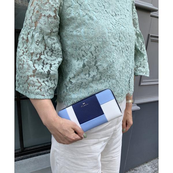 【Pi ピーアイ】合皮ブロック配色ラウンドファスナー長財布