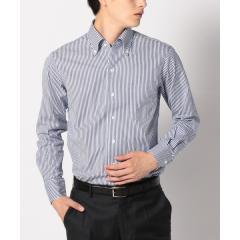 SD: 【GIZA コットン】 ロンドンストライプ イタリアンボタンダウンシャツ (ブルー)【お取り寄せ商品】