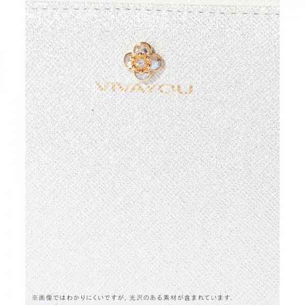 【VIVAYOU ビバユー】ワンポイントフラワービジュー付きラウンドファスナー長財布