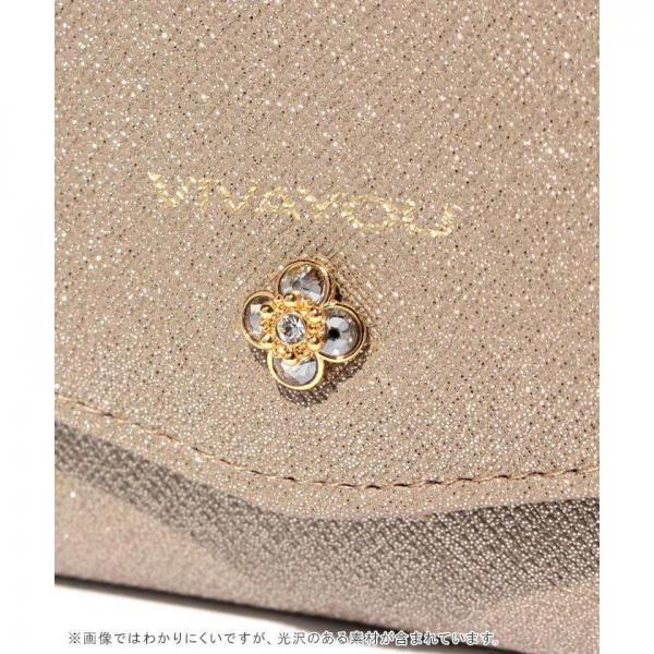 【VIVAYOU ビバユー】ワンポイントフラワービジュー付き3つ折りがま口財布