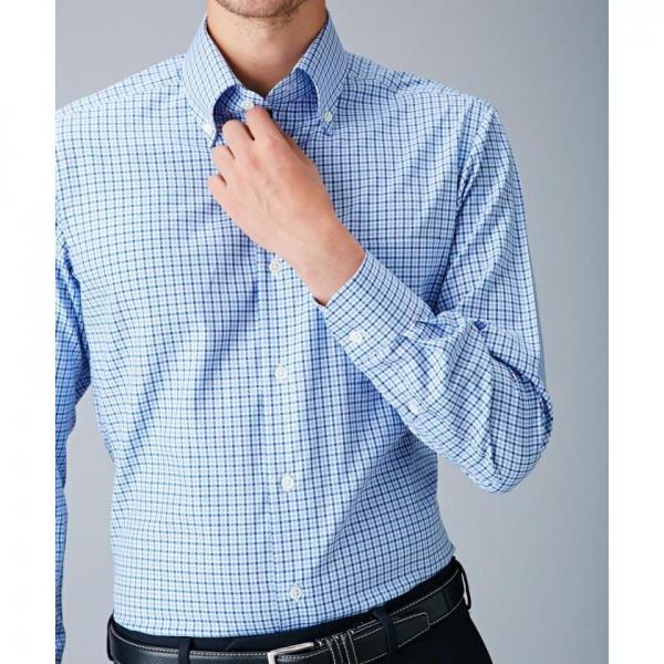 【日本製】【イージーケア】ネイビーブルーチェックシャツ【お取り寄せ商品】