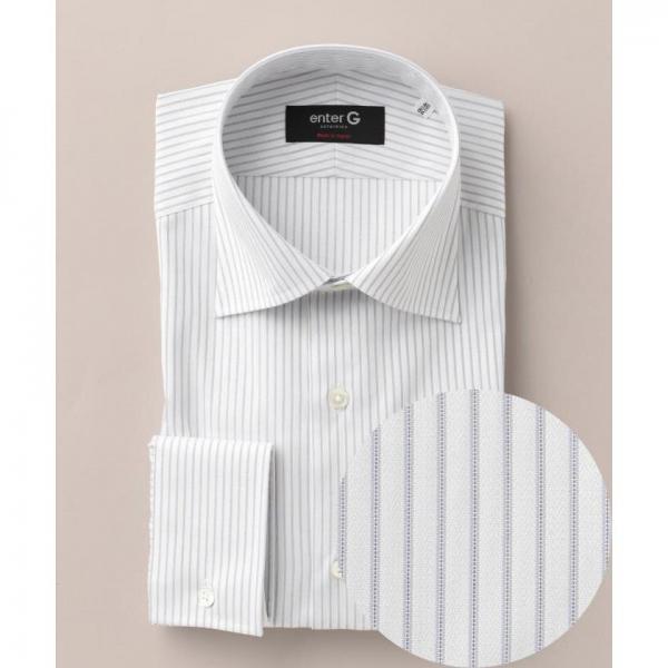 【日本製】【イージーケア】ドビーグレーストライプシャツ【お取り寄せ商品】