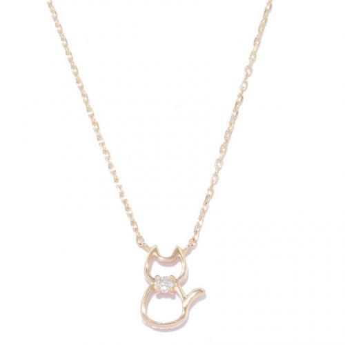 ダイヤモンドオスワリネコネックレス(YG)