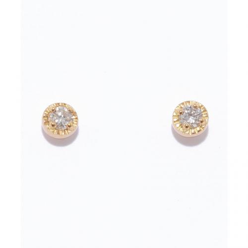 [セカンドピアス] K18ダイヤモンドミルワクピアス0.04ct