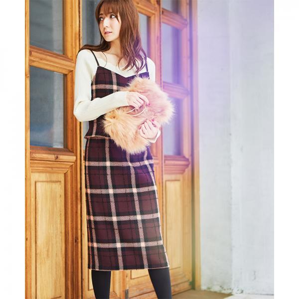 【セットアップ対応商品】ループチェックタイトスカート