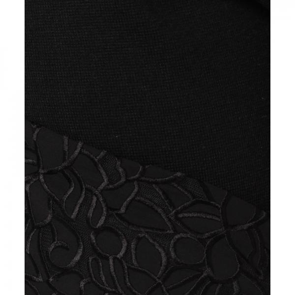 刺繍レースミラノリブニットパンツ