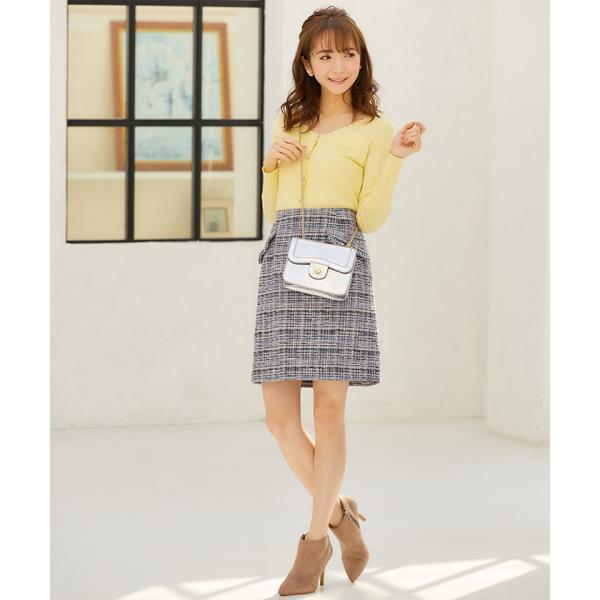 ミックスツイード台形スカート