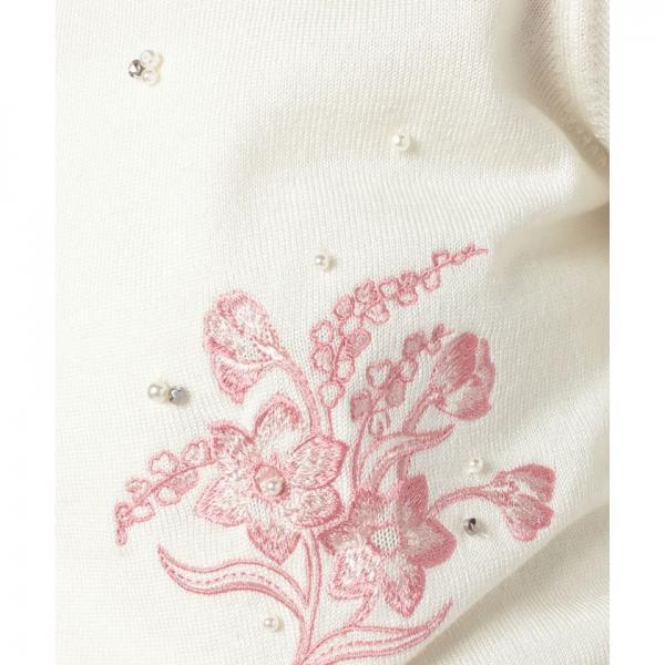 フラワー刺繍カーディガン