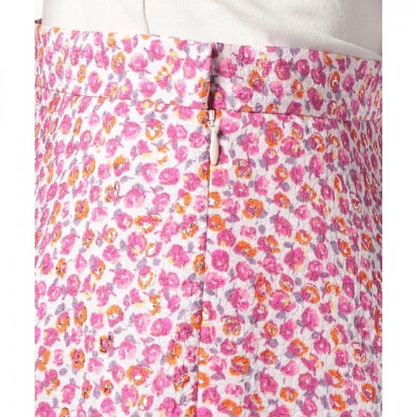 メタリックフラワープリントスカート