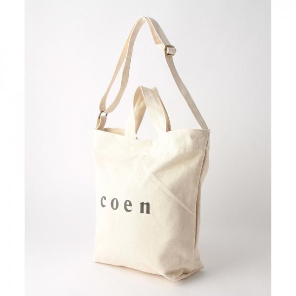 【新色追加/シルバー⇒WEB限定色】coen2WAYロゴトートバッグ【お取り寄せ商品】