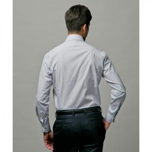 【日本製】グレーロンドンストライプシャツ【お取り寄せ商品】