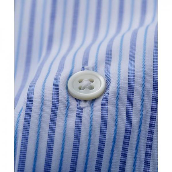 【日本製】サックスオルタネートストライプシャツ【お取り寄せ商品】