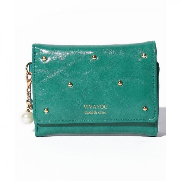【VIVAYOU ビバユー】スタッズ使い3つ折りコンパクト財布