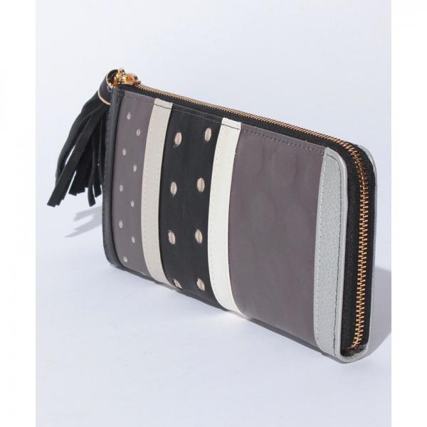 ペルケperche / マルチドットタッセル付きL字型長財布