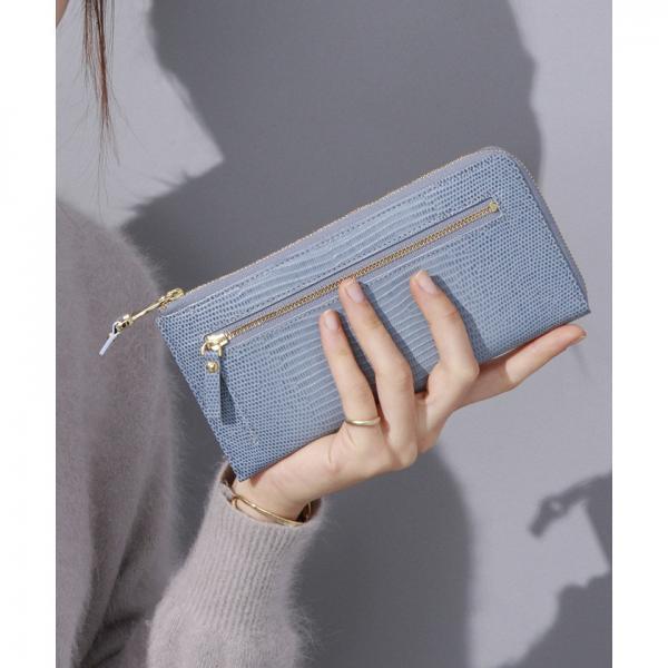 イタリアンレザー・リザード型押し・Lファスナー長財布