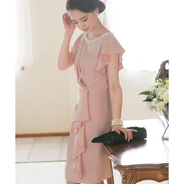 【結婚式・お呼ばれ対応】ビジュー付き アシンメトリードレープドレス