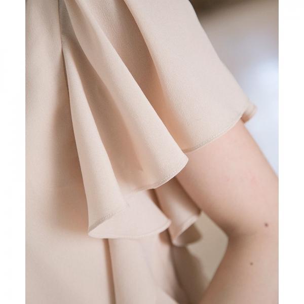 【結婚式・お呼ばれ対応】ビジュー付き 袖フリル ギャザーAラインドレス