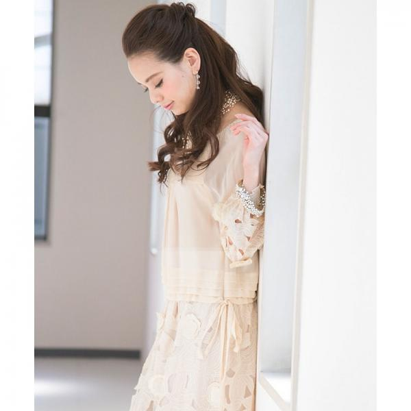【結婚式・お呼ばれ対応】花柄カットワーク シフォン Aライン 七分袖 ワンピース